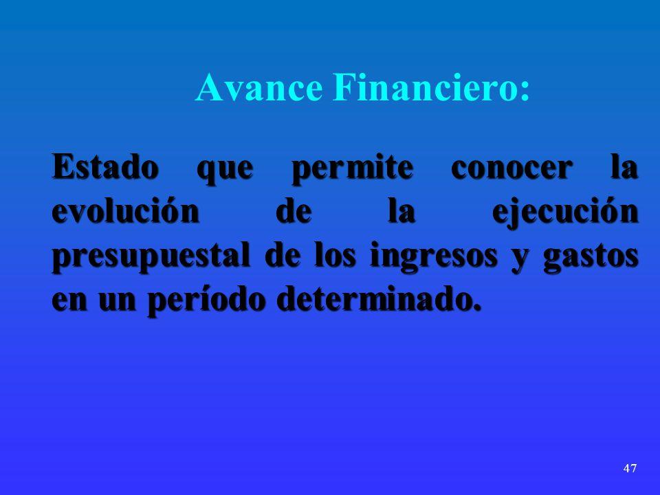 Avance Financiero: Estado que permite conocer la evolución de la ejecución presupuestal de los ingresos y gastos en un período determinado.