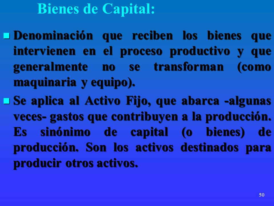 Bienes de Capital:
