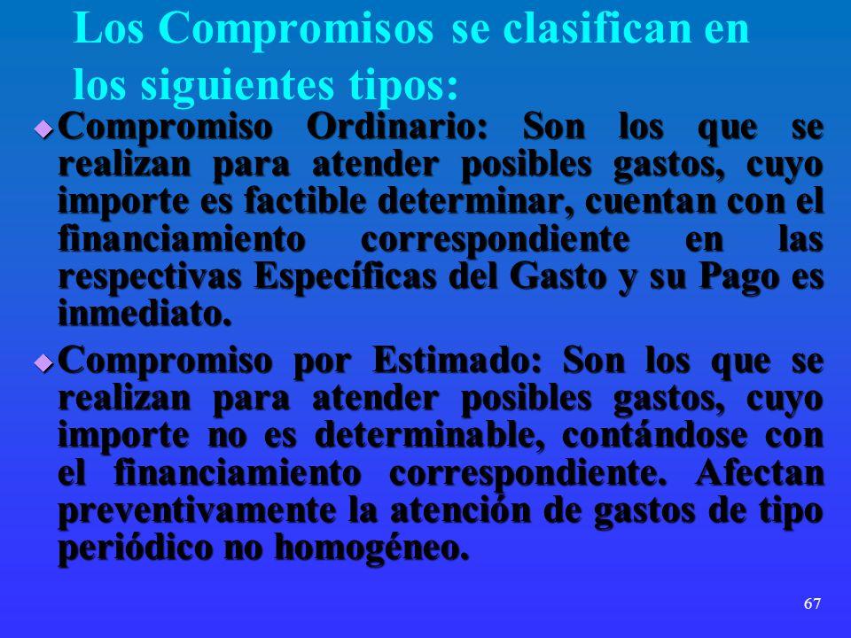 Los Compromisos se clasifican en los siguientes tipos:
