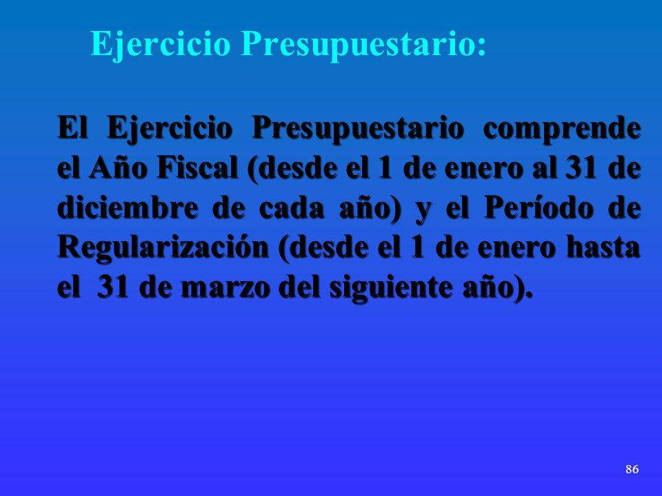 Ejercicio Presupuestario: