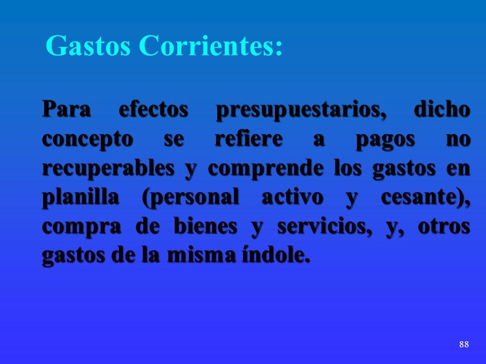Gastos Corrientes: