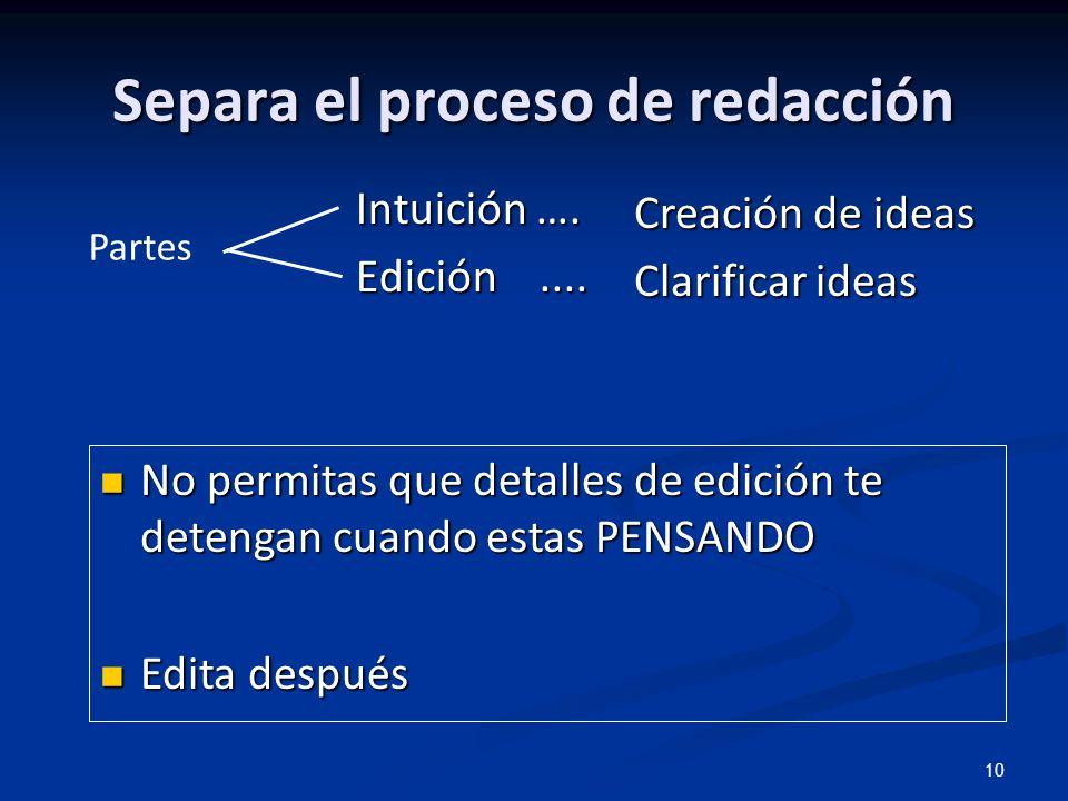 Separa el proceso de redacción