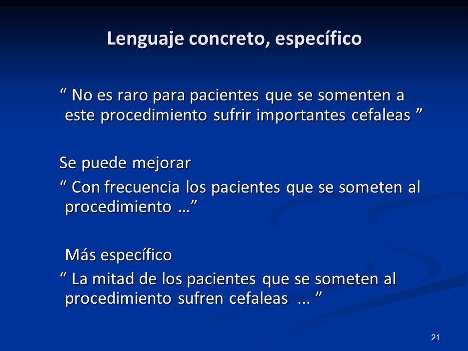 Lenguaje concreto, específico