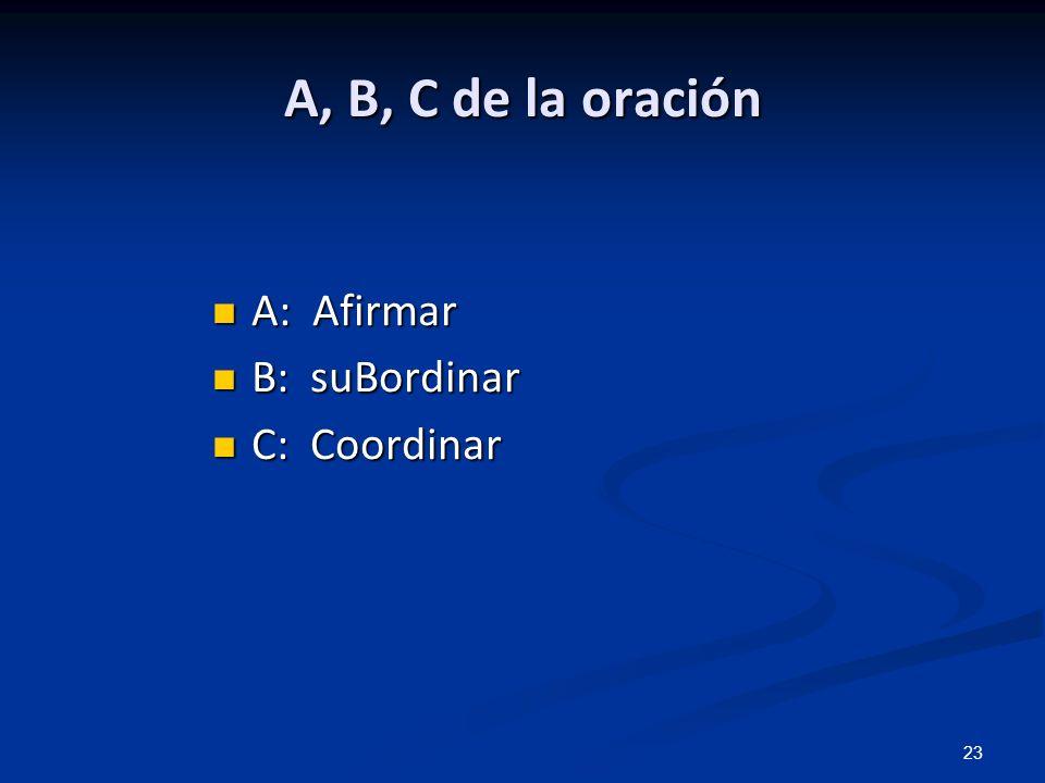 A, B, C de la oración A: Afirmar B: suBordinar C: Coordinar