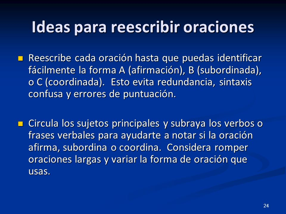 Ideas para reescribir oraciones