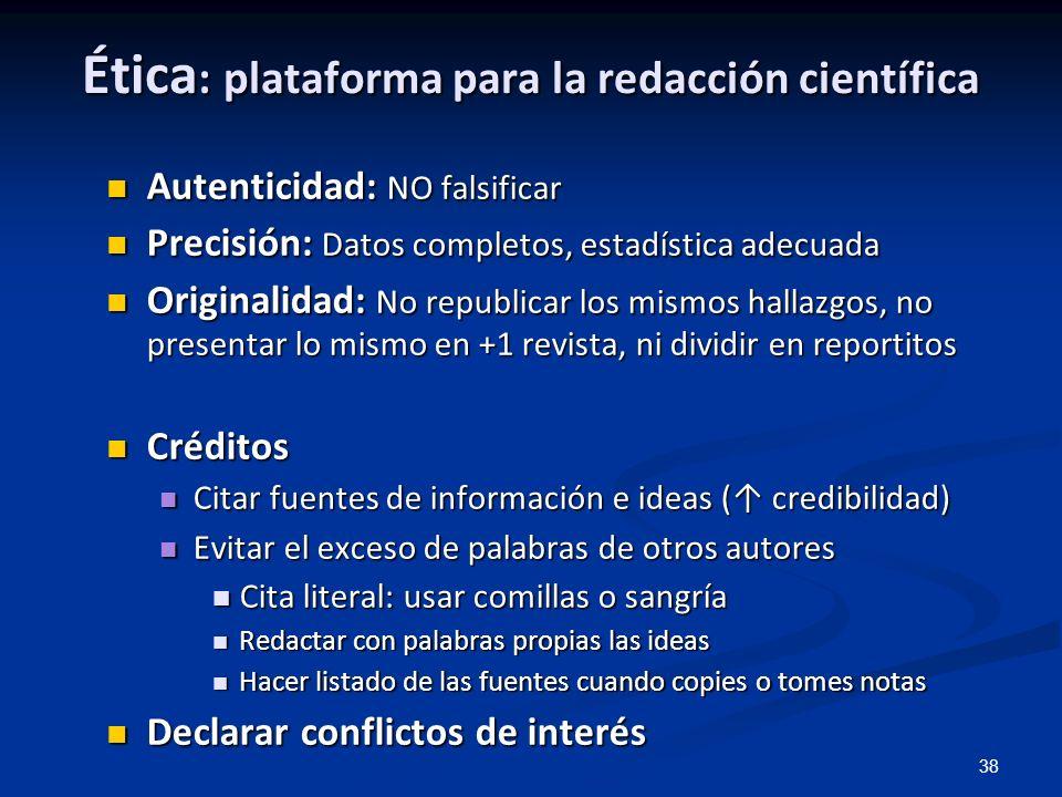 Ética: plataforma para la redacción científica