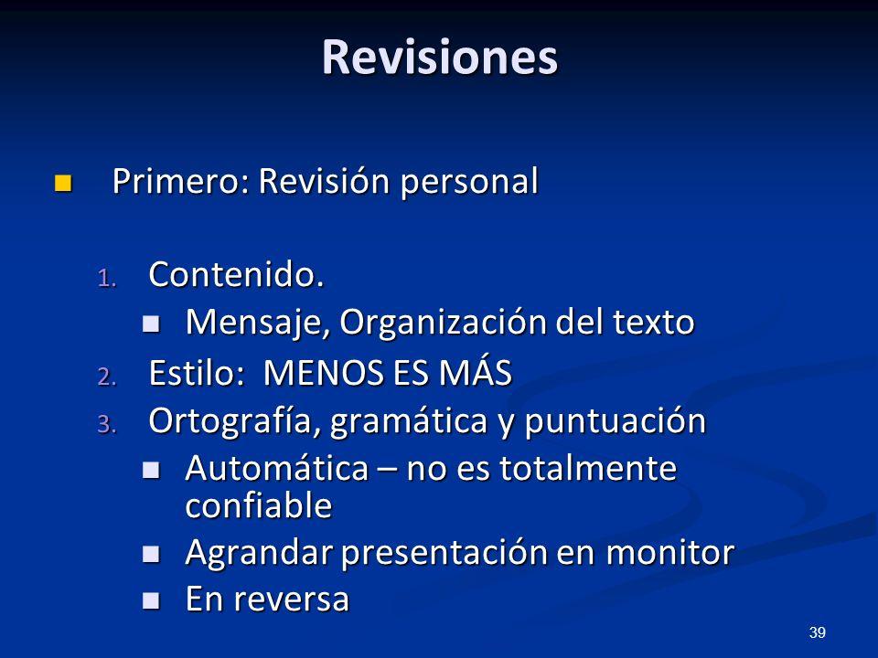 Revisiones Primero: Revisión personal Contenido.