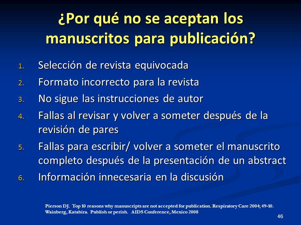 ¿Por qué no se aceptan los manuscritos para publicación