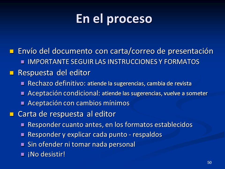 En el proceso Envío del documento con carta/correo de presentación