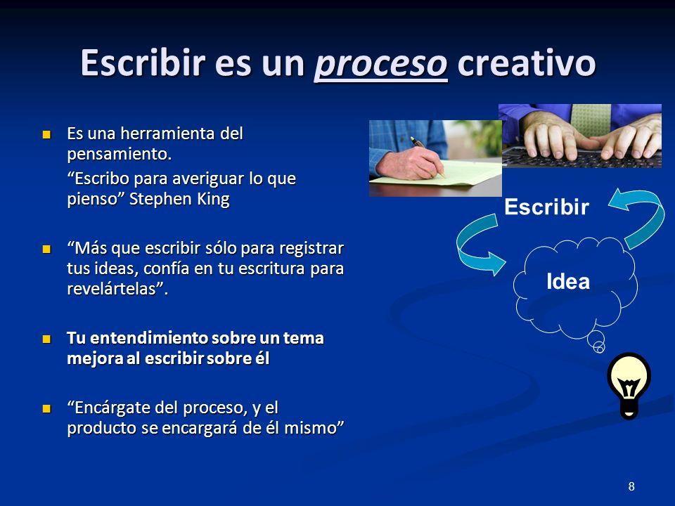 Escribir es un proceso creativo