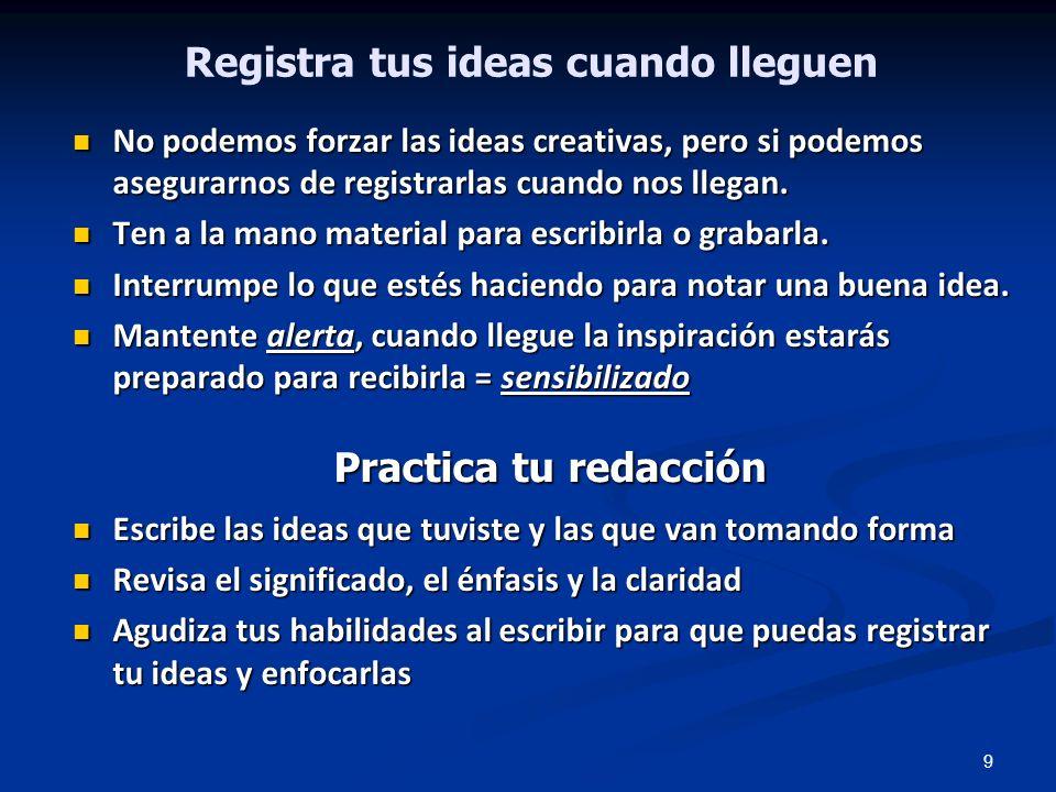 Registra tus ideas cuando lleguen