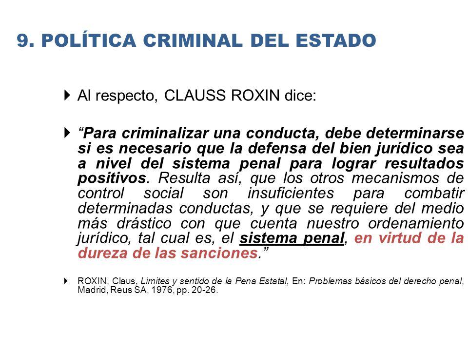 9. Política criminal del estado