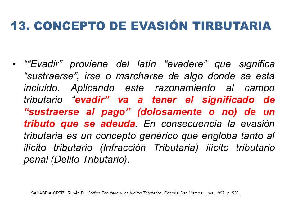 13. CONCEPTO DE EVASIÓN TIRBUTARIA