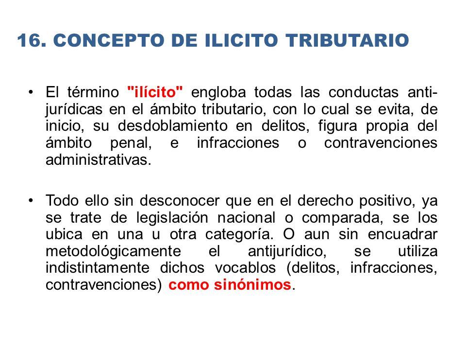16. CONCEPTO DE ILICITO TRIBUTARIO