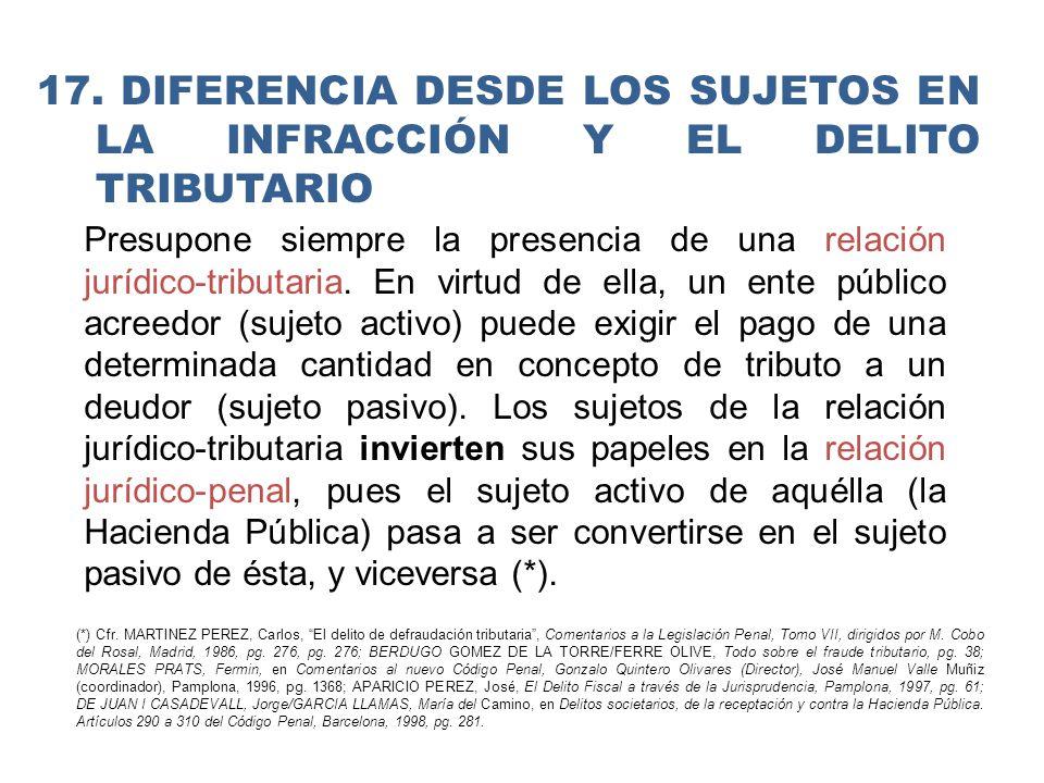 17. DIFERENCIA DESDE LOS Sujetos en la infracción y el delito tributario