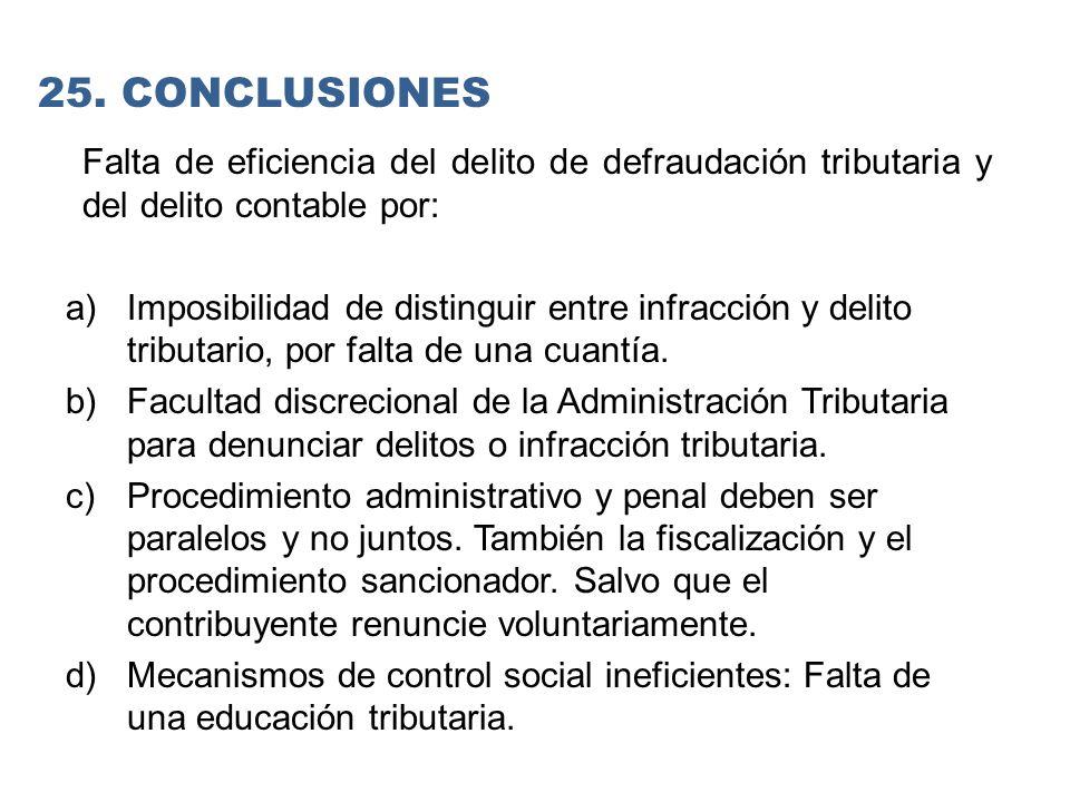 25. CONCLUSIONES Falta de eficiencia del delito de defraudación tributaria y del delito contable por: