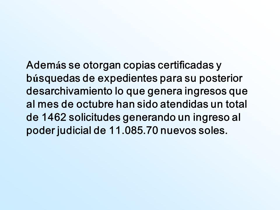 Además se otorgan copias certificadas y búsquedas de expedientes para su posterior desarchivamiento lo que genera ingresos que al mes de octubre han sido atendidas un total de 1462 solicitudes generando un ingreso al poder judicial de 11.085.70 nuevos soles.
