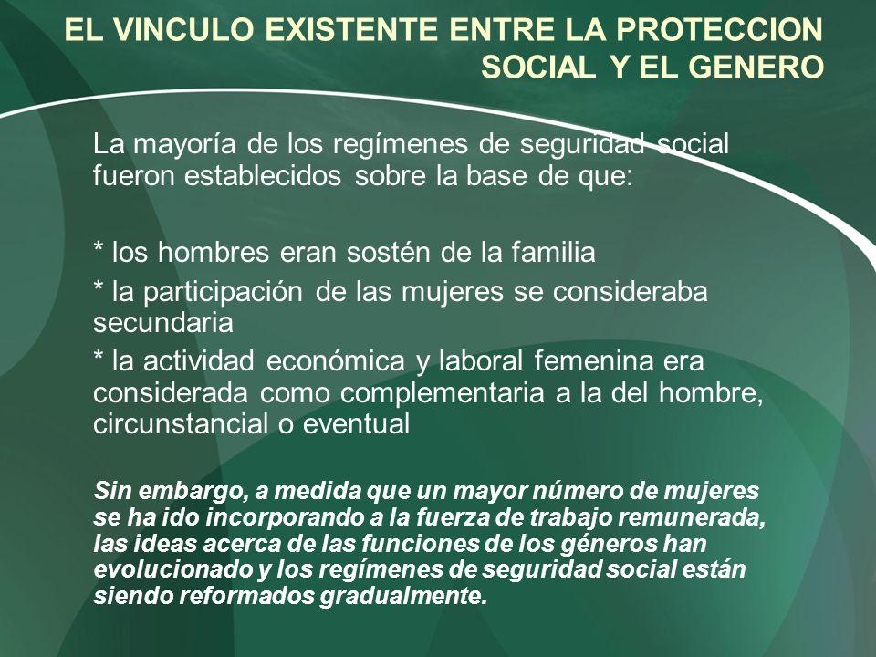 EL VINCULO EXISTENTE ENTRE LA PROTECCION SOCIAL Y EL GENERO