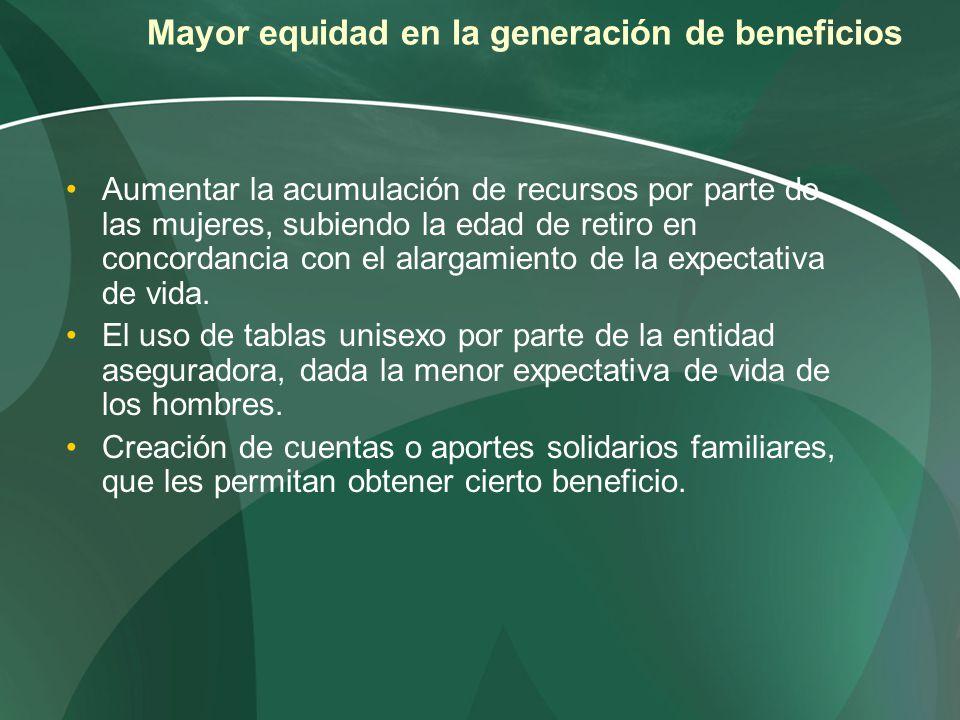 Mayor equidad en la generación de beneficios