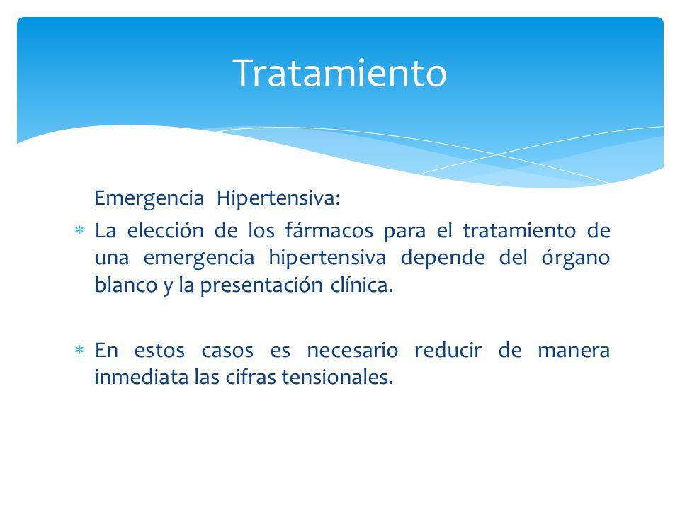 Tratamiento Emergencia Hipertensiva: