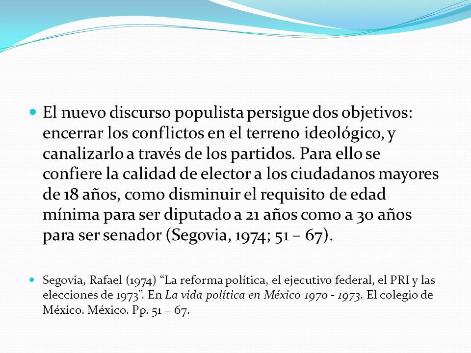 El nuevo discurso populista persigue dos objetivos: encerrar los conflictos en el terreno ideológico, y canalizarlo a través de los partidos. Para ello se confiere la calidad de elector a los ciudadanos mayores de 18 años, como disminuir el requisito de edad mínima para ser diputado a 21 años como a 30 años para ser senador (Segovia, 1974; 51 – 67).