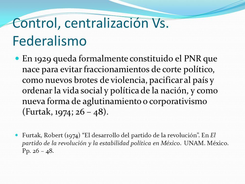 Control, centralización Vs. Federalismo