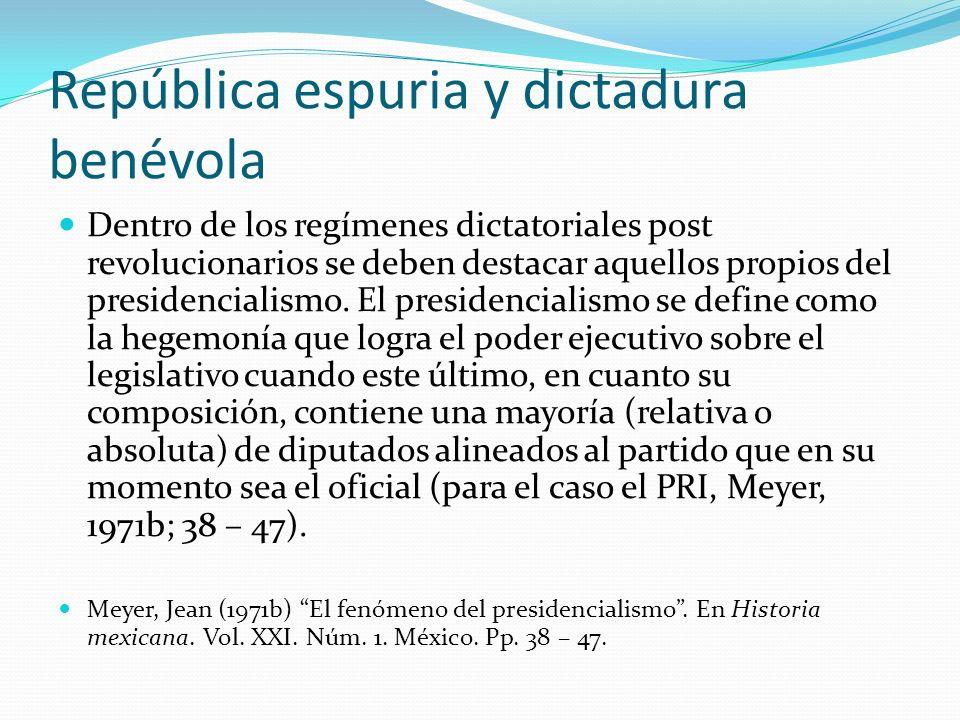 República espuria y dictadura benévola
