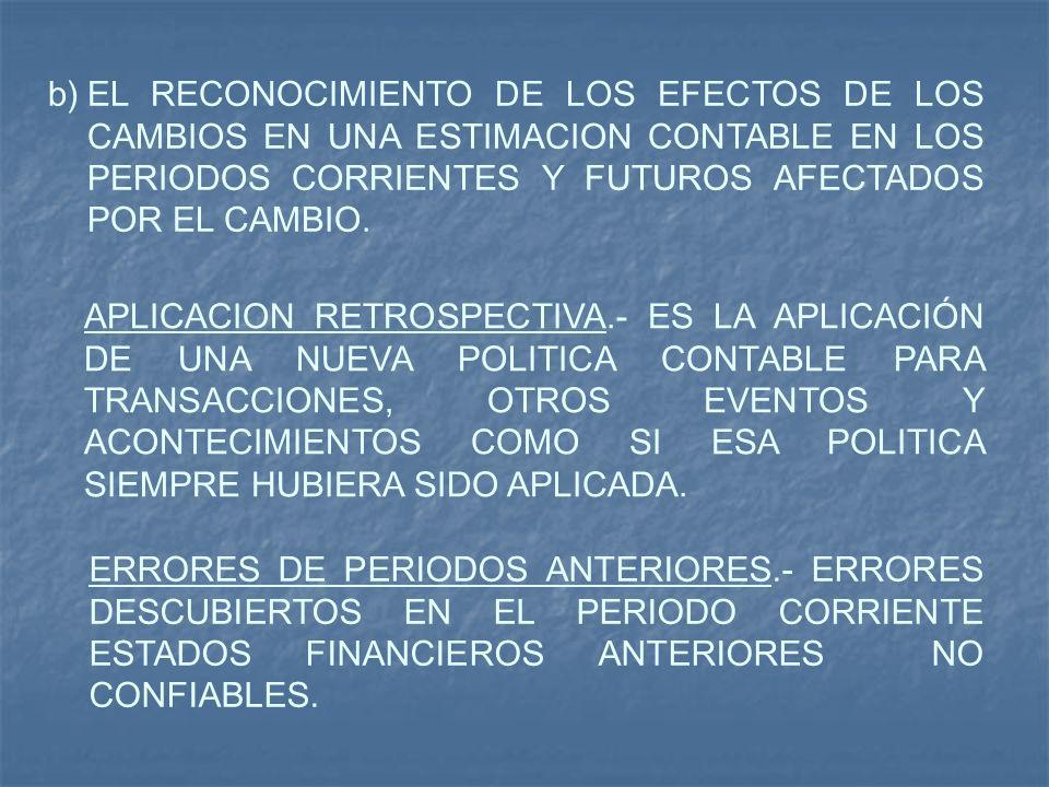 EL RECONOCIMIENTO DE LOS EFECTOS DE LOS CAMBIOS EN UNA ESTIMACION CONTABLE EN LOS PERIODOS CORRIENTES Y FUTUROS AFECTADOS POR EL CAMBIO.