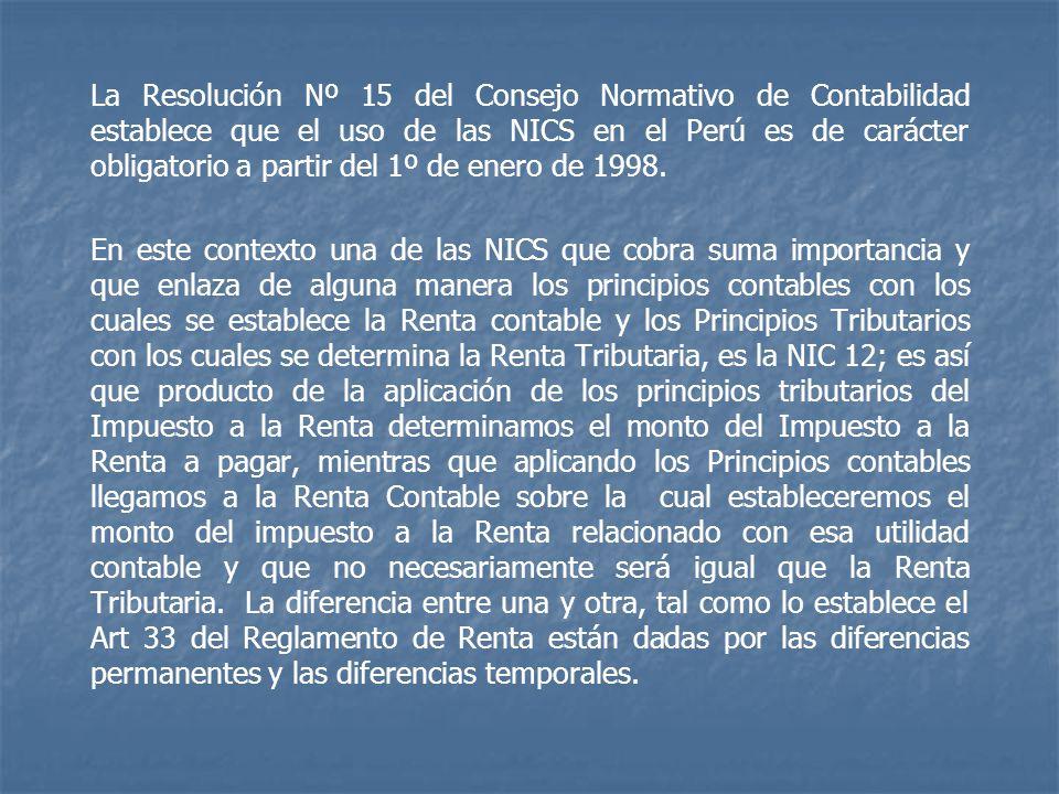 La Resolución Nº 15 del Consejo Normativo de Contabilidad establece que el uso de las NICS en el Perú es de carácter obligatorio a partir del 1º de enero de 1998.