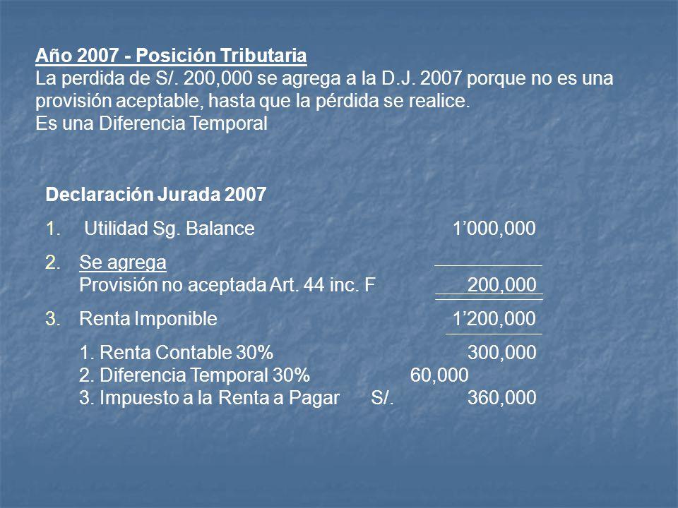 Año 2007 - Posición Tributaria La perdida de S/