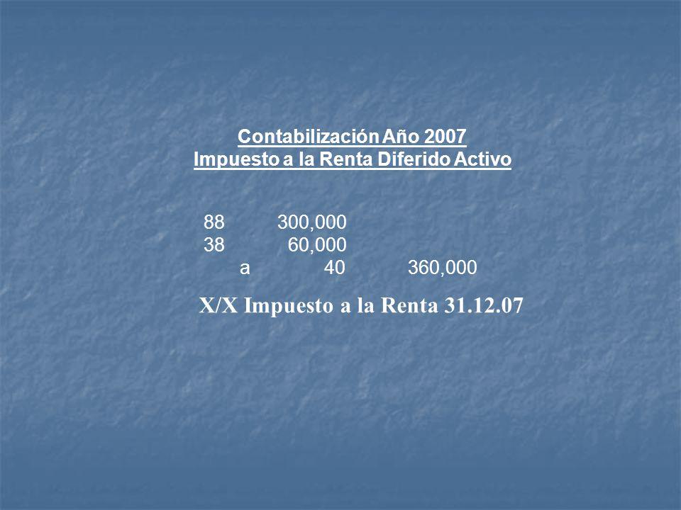 Contabilización Año 2007 Impuesto a la Renta Diferido Activo