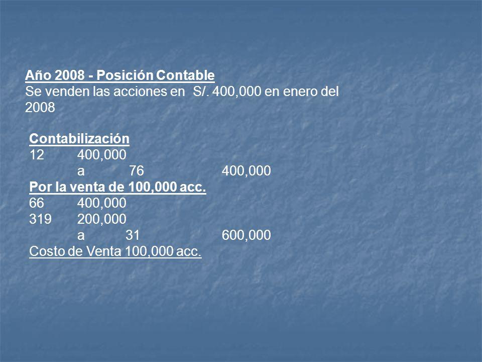 Año 2008 - Posición Contable Se venden las acciones en S/
