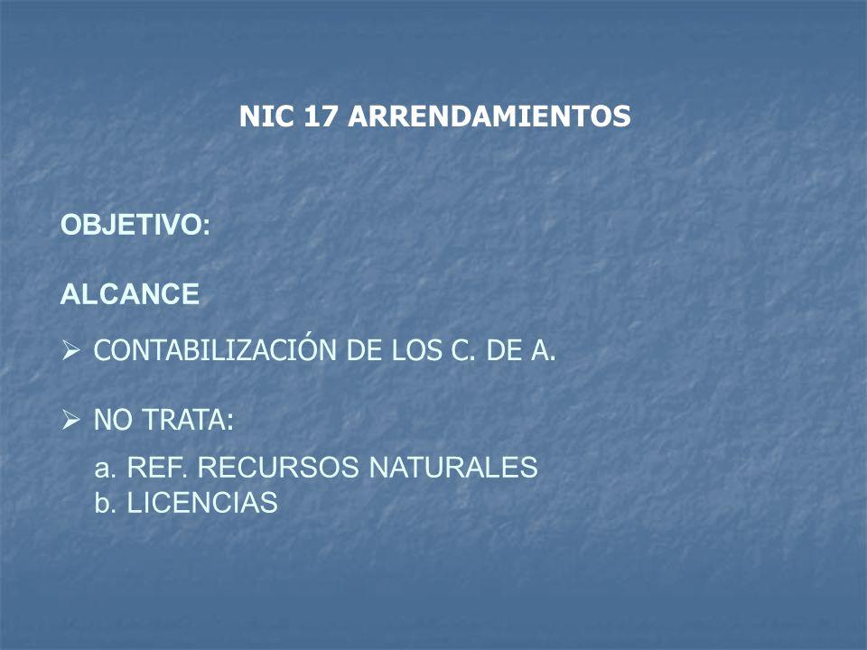 NIC 17 ARRENDAMIENTOS OBJETIVO: ALCANCE. CONTABILIZACIÓN DE LOS C. DE A. NO TRATA: REF. RECURSOS NATURALES.