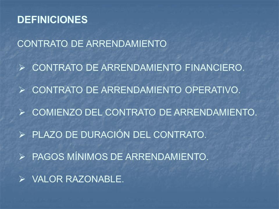 DEFINICIONES CONTRATO DE ARRENDAMIENTO