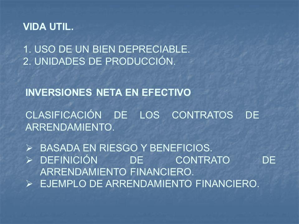 VIDA UTIL. USO DE UN BIEN DEPRECIABLE. UNIDADES DE PRODUCCIÓN. INVERSIONES NETA EN EFECTIVO. CLASIFICACIÓN DE LOS CONTRATOS DE ARRENDAMIENTO.