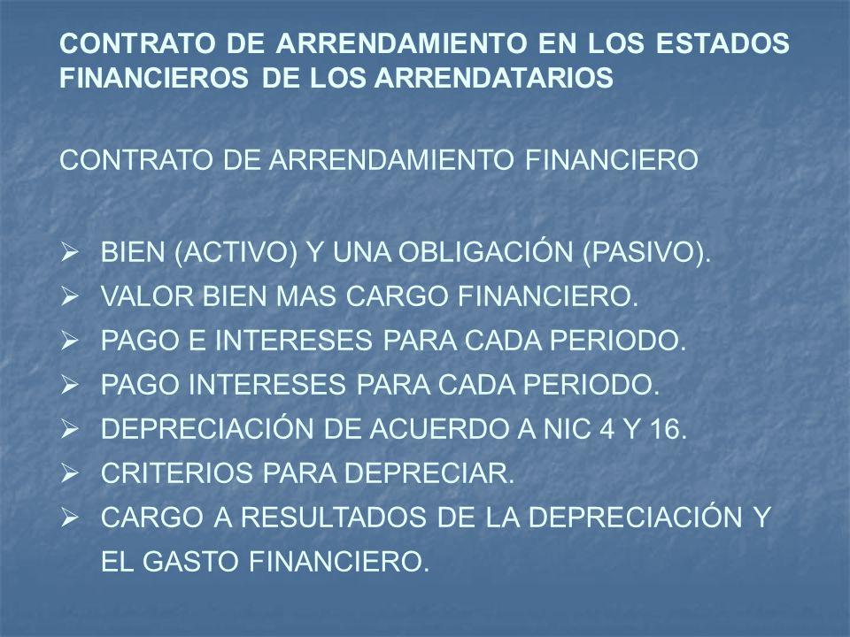 CONTRATO DE ARRENDAMIENTO EN LOS ESTADOS FINANCIEROS DE LOS ARRENDATARIOS