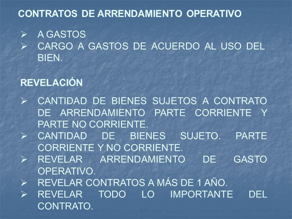 CONTRATOS DE ARRENDAMIENTO OPERATIVO