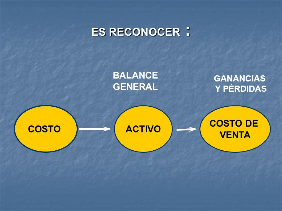 ES RECONOCER : BALANCE GENERAL COSTO ACTIVO COSTO DE VENTA GANANCIAS