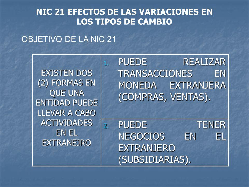 NIC 21 EFECTOS DE LAS VARIACIONES EN LOS TIPOS DE CAMBIO
