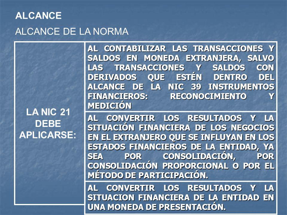 ALCANCE ALCANCE DE LA NORMA LA NIC 21 DEBE APLICARSE: