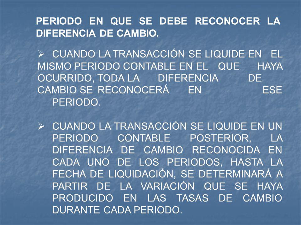PERIODO EN QUE SE DEBE RECONOCER LA DIFERENCIA DE CAMBIO.