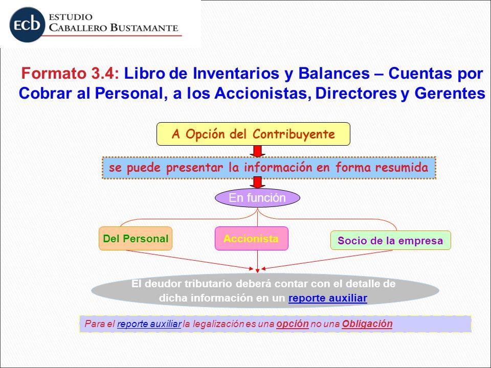 Formato 3.4: Libro de Inventarios y Balances – Cuentas por Cobrar al Personal, a los Accionistas, Directores y Gerentes