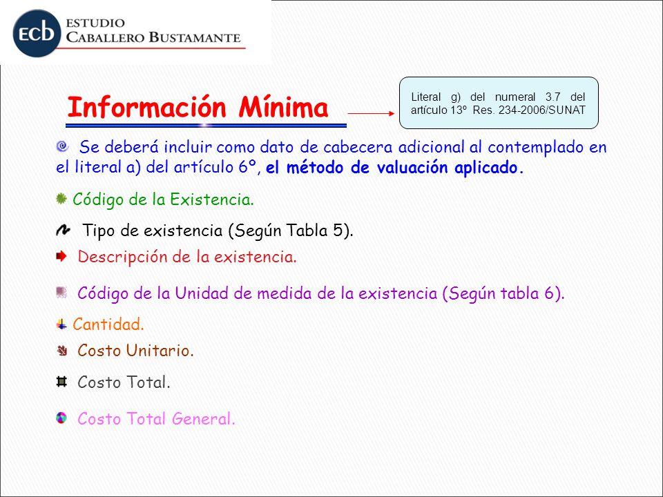 Información Mínima Literal g) del numeral 3.7 del artículo 13º Res. 234-2006/SUNAT.