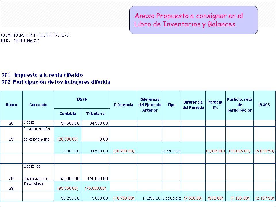 Anexo Propuesto a consignar en el Libro de Inventarios y Balances