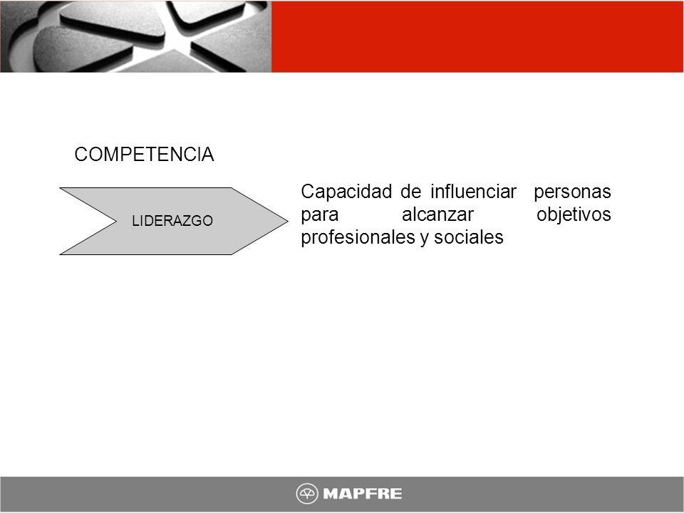 COMPETENCIA Capacidad de influenciar personas para alcanzar objetivos profesionales y sociales.