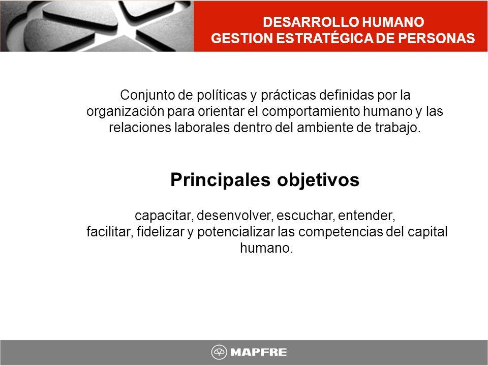 GESTION ESTRATÉGICA DE PERSONAS Principales objetivos