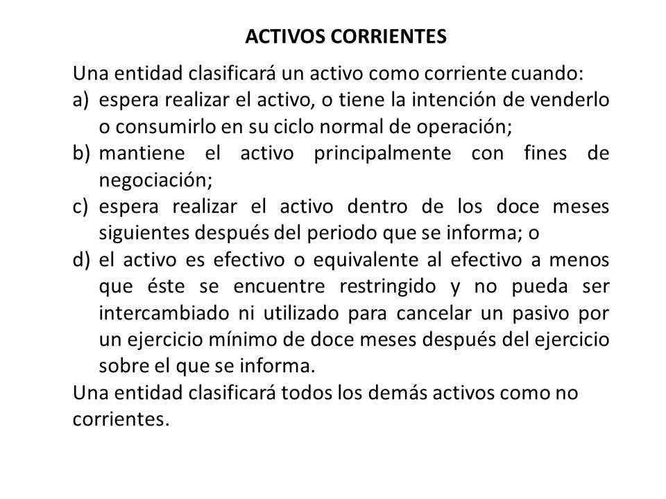 ACTIVOS CORRIENTES Una entidad clasificará un activo como corriente cuando: