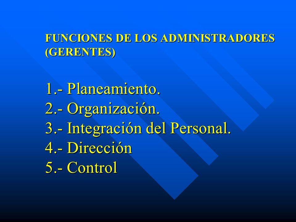 FUNCIONES DE LOS ADMINISTRADORES (GERENTES) 1. - Planeamiento. 2