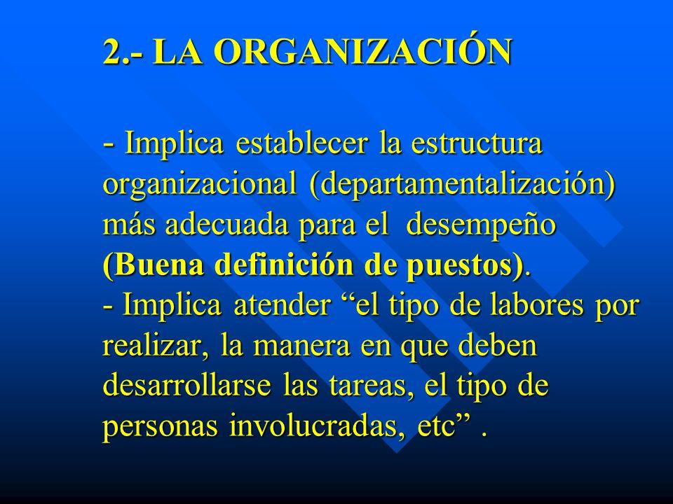 2.- LA ORGANIZACIÓN - Implica establecer la estructura organizacional (departamentalización) más adecuada para el desempeño (Buena definición de puestos).