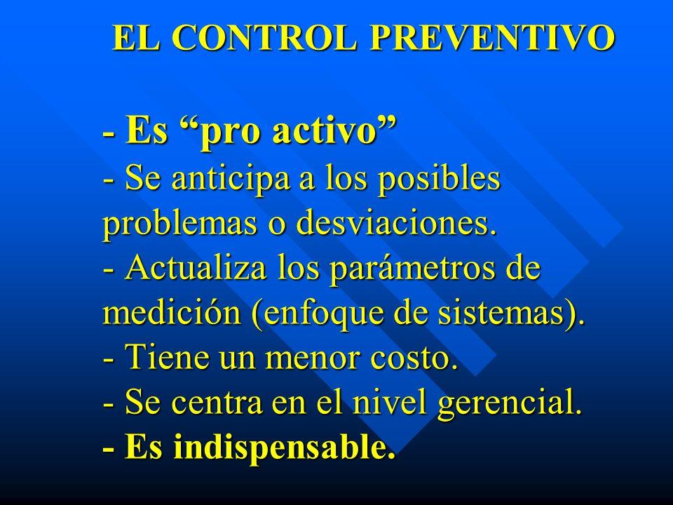 EL CONTROL PREVENTIVO - Es pro activo - Se anticipa a los posibles problemas o desviaciones.